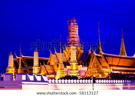 Buddhist temple Grand Palace at night in Bangkok, Thailand - stock photo