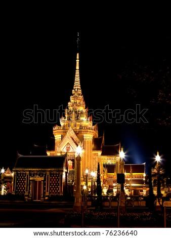 Buddhist temple Grand Palace at night in Bangkok Thailand - stock photo
