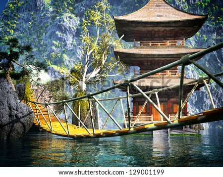 Buddhist temple in mountains with old Japanese rope bridge - stock photo
