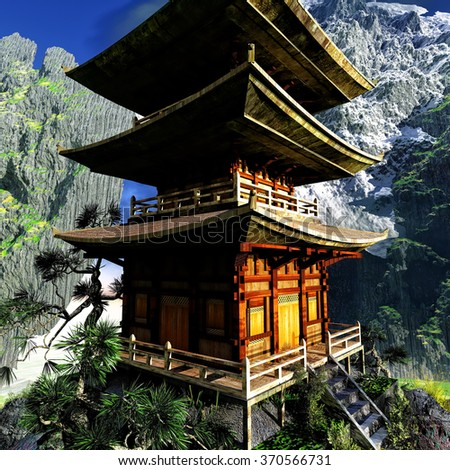 Buddhist Temple in rocky mountains - stock photo