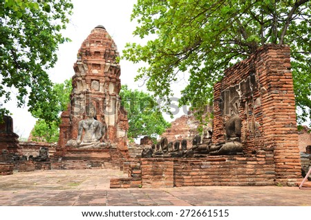 Buddhist temple in the city of Ayutthaya Historical Pagoda - stock photo