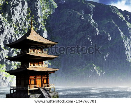 Buddhist temple in the mountains - stock photo