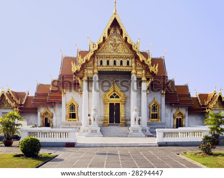 Buddhist temple of Wat Benjamobopith in Bangkok, Thailand.