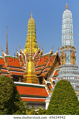 Buddhist Temple of Wat Phra Kaew, Popular Tourist Attraction by the Grand Palace in Bangkok, Thailand - stock photo