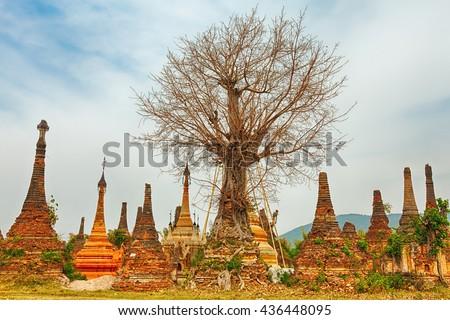 Buddhist temple Sankar. Shan state. Myanmar.  - stock photo