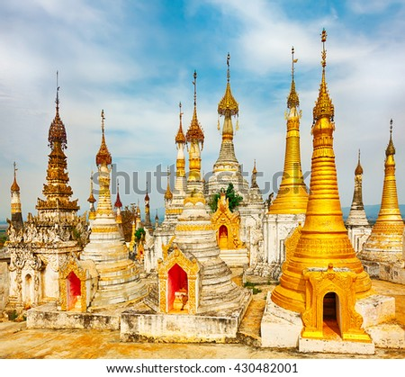 Buddhist temple Thaung Tho on Inle Lake. Myanmar.  - stock photo