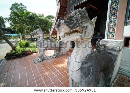 Buddhist Temple Wat Nong Bua located in Nan Province, Northern Thailand. Famous for the murals paintings on the temple's wall believed to be around 250 years old telling the story of the Lord Buddha. - stock photo