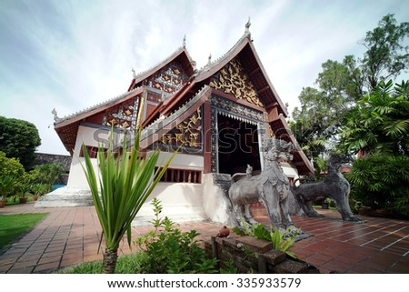 Buddhist Temple Wat Nong Bua located in Nan Province, Northern Thailand. Famous for the murals paintings on the temple's wall believed to be around 250 years old telling the story of the Lord Buddha - stock photo