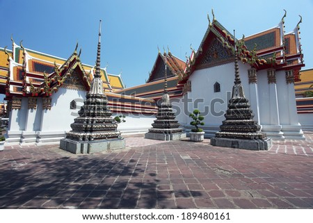 Buddhist temple, Wat Pho, Landmark of tourist attractions in Thailand. Wat Pho or Wat Phra Chettuphon Wimon Mangkhlaram is UNESCO Memory of the World,bangkok THAILAND - stock photo