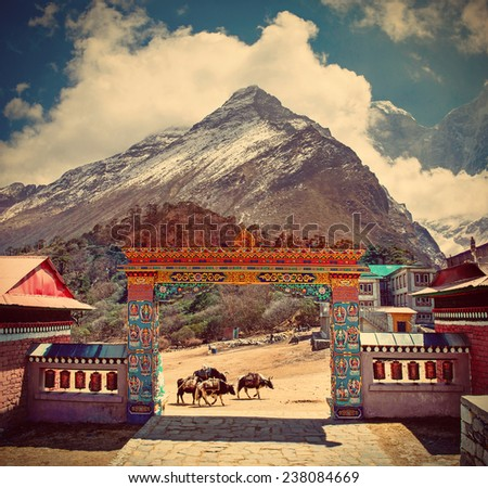 Buddhist Tengboche monastery in Himalaya mountains, Nepal  - stock photo