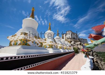 Buddhist white stupa and blue sky in the background in Thiksey Monastery in Leh , Ladakh, India. Close up