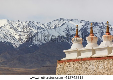 Buddhist white stupa, Shey Palace in Leh , Ladakh, India - stock photo