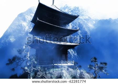 Buddhist Zen Temple at misty  night - stock photo