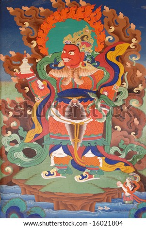 buddhistic fresco at Korzok Gompa, Ladakh