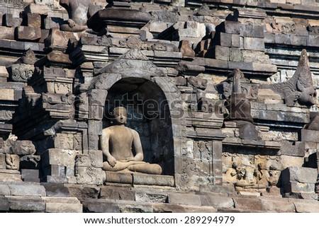 Buddist temple Borobudur complex in Yogjakarta in Java, Indonesia - stock photo