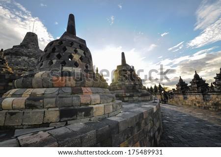 Buddist temple Borobudur heritage complex in Yogjakarta in Java, indonesia - stock photo