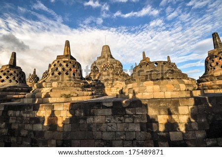 Buddist temple Borobudur Stupa complex in Yogjakarta in Java, indonesia - stock photo