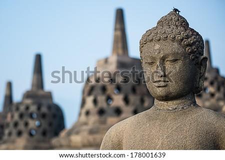Buddist temple Borobudur. Yogyakarta. Java, Indonesia - stock photo