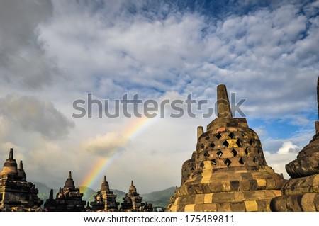 Buddist temple Stupa Rainbow  Borobudur complex in Yogjakarta in Java, indonesia - stock photo