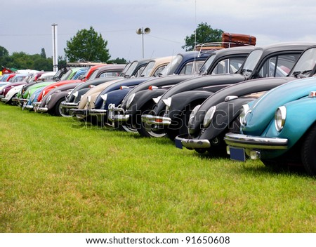 """BUDEL /  NETHERLANDS - 15-JUNE-2011 : A lot of VW beetles during """"Budel aircooled 2011"""" the largest aircooled carshow in the Netherlands in Budel at 15-june-2011 - stock photo"""