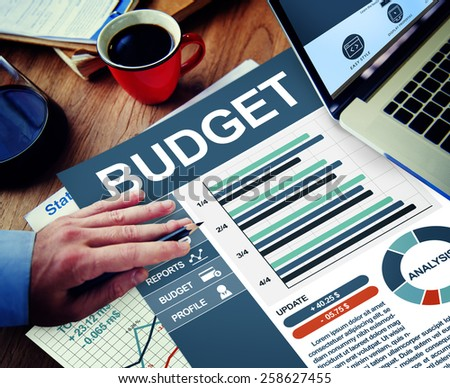 Budget Businessman Working Calculating Thinking Planning Paperwork Concept - stock photo