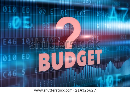 Budget concept blue background with red text - stock photo
