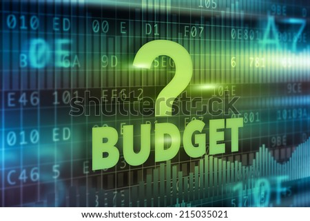 Budget concept blue green background with green text - stock photo