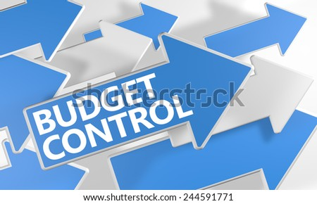 Budget Control 3d render concept with blue and white arrows flying over a white background. - stock photo