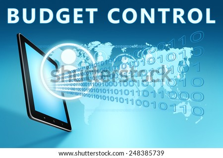 Budget Control illustration with tablet computer on blue background - stock photo