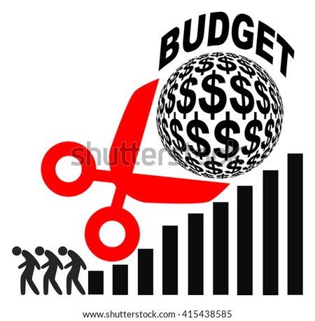 Budget Cuts and Rising Profits. Cutting Costs leading to Job Loss. - stock photo