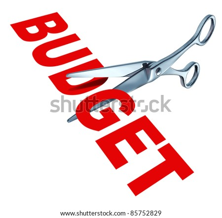 Budget cuts symbol for reducing budgeted expenditures by slashing costs and eliminating financial surplus represented by sharp open metal scissors. - stock photo