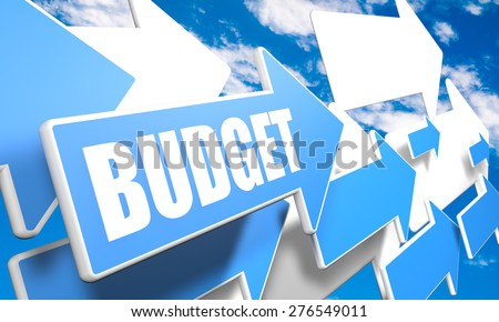 Budget 3d render concept with blue and white arrows flying in a blue sky with clouds - stock photo