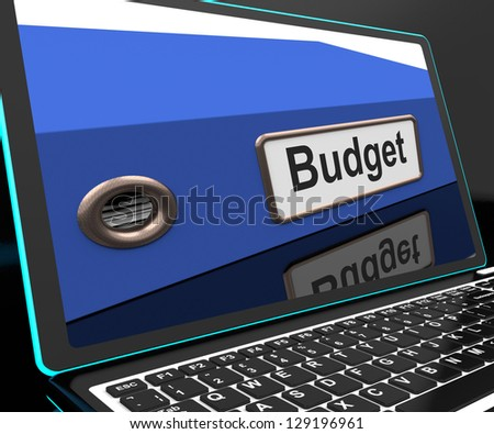 Budget File On Laptop Showing Financial Report Or Accounting