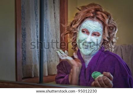 Budget home facial treatment - stock photo