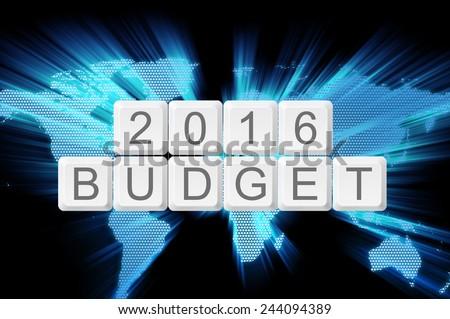 Budget 2016 0n keyboard button with shiny zoom world map. - stock photo