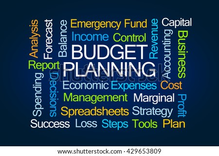Budget Planning Word Cloud on Blue Background - stock photo