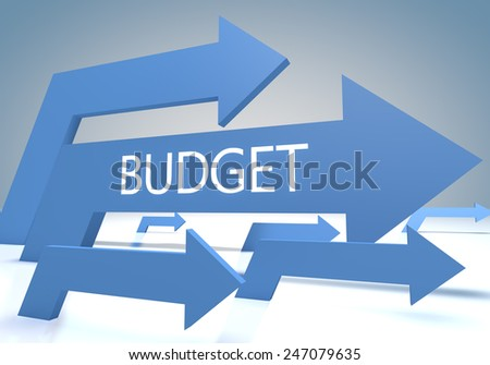 Budget render concept with blue arrows on a bluegrey background. - stock photo