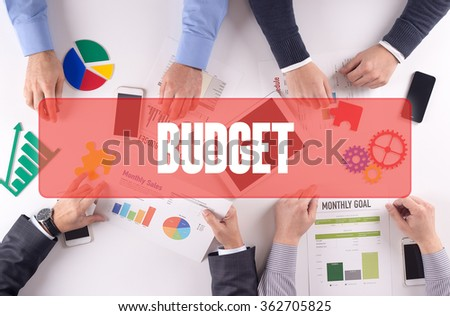 BUDGET Teamwork Business Office Working Concept - stock photo