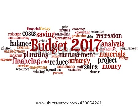 Budget 2017, word cloud concept on white background.
