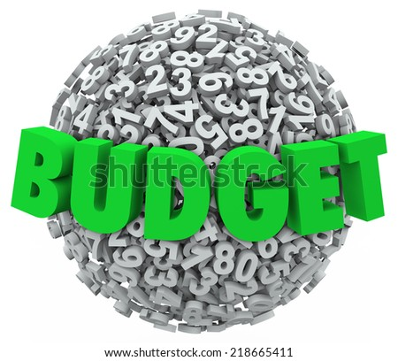 Budget word in green 3d letters on a ball or sphere of numbers to illustrate accounting processes and reducing costs for company, business or personal finances - stock photo