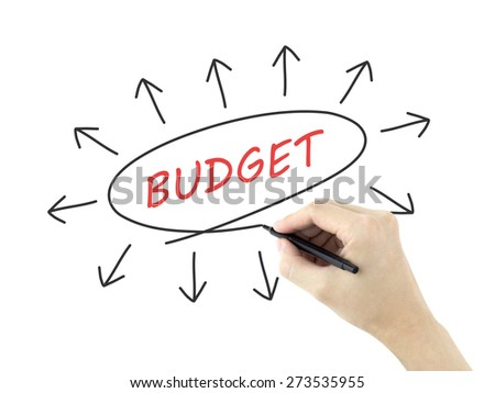 budget word written by man's hand on white background - stock photo
