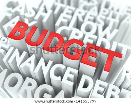 Budget - Wordcloud Concept. The Word in Red Color, Surrounded by a Cloud of Words Gray.