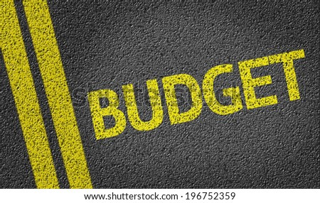 Budget written on the road - stock photo