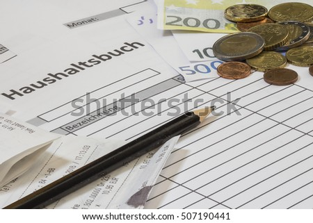 Budgetary accounting German text Household book