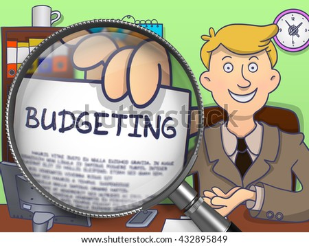 Budgeting. Business Man Showing Concept on Paper through Lens. Multicolor Doodle Illustration.