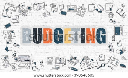Budgeting Concept. Modern Line Style Illustration. Multicolor Budgeting Drawn on White Brick Wall. Doodle Icons. Doodle Design Style of  Budgeting Concept. - stock photo
