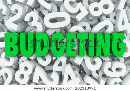 Budgeting word green letters background of numbers creating budget plan for finances - stock photo