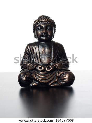 budha sculpture made of metal, for meditation and religious concepts - stock photo