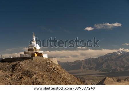 Budhist monument Shanti Stupa in Leh, Ladakh, India - stock photo