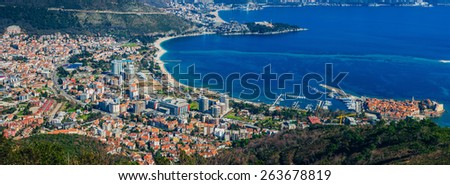 Budva from the sky - stock photo